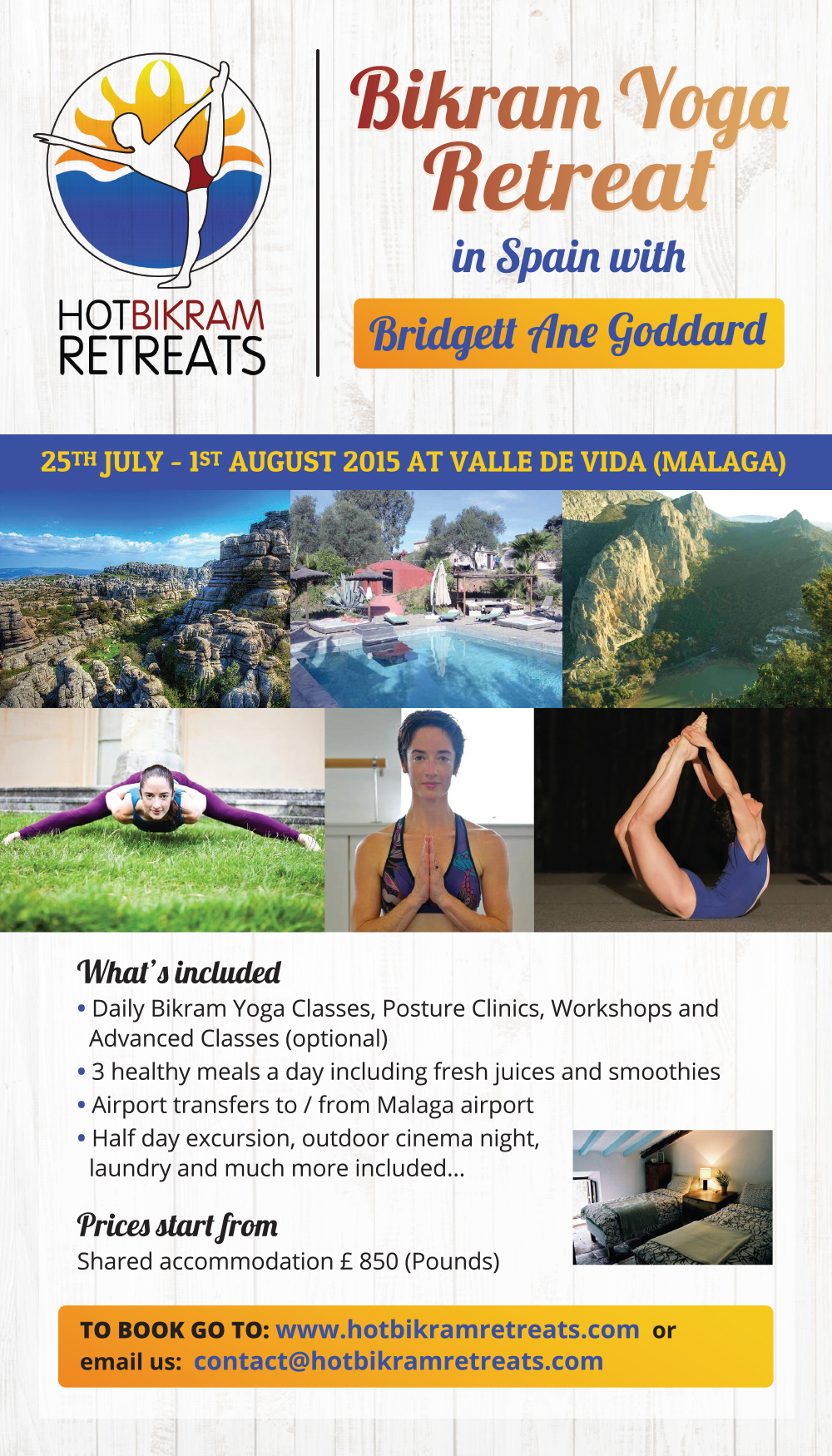 Summer Bikram Yoga Retreat in Spain with Bridgett Ane Goddard