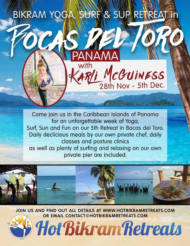 Bikram Yoga, Surf & SUP Retreat in Bocas del Toro, Panama – November 2015